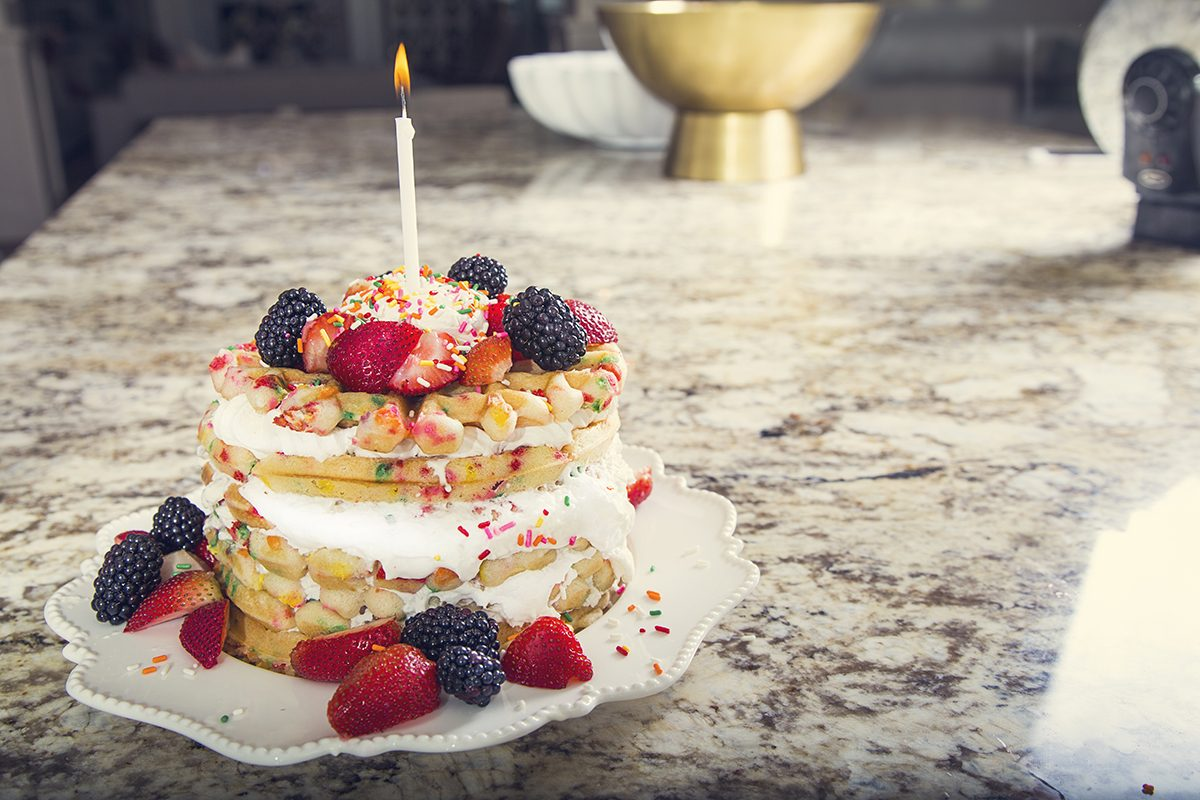 This Pretty Stack Of Waffles May Just Bring Us As Much Happiness A Slice Birthday Cake We Hope You Enjoy Fun Recipe And Dont Forget To